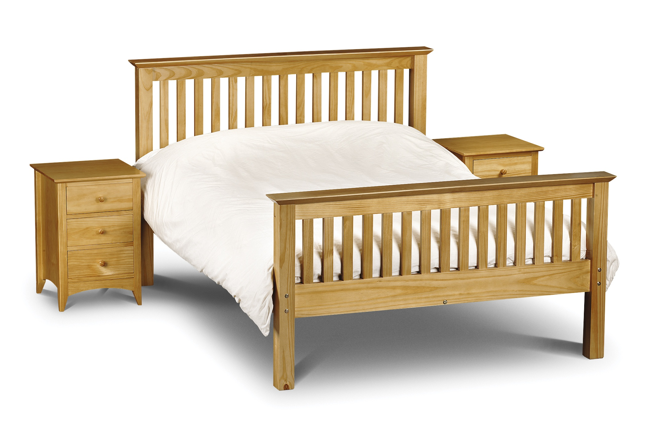 Solid Pine Slatted Bedstead - High Foot End