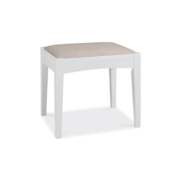 Genoa White - Stool with Linen Fabric