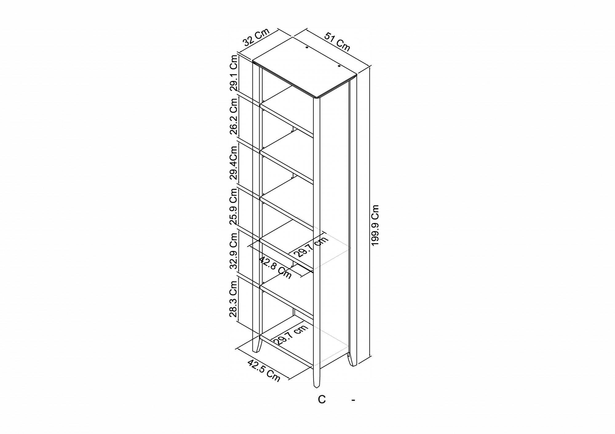 Calcot Grey - Narrow Bookcase