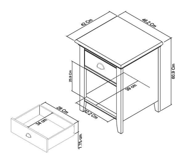 genoa 1 drawer dimensions