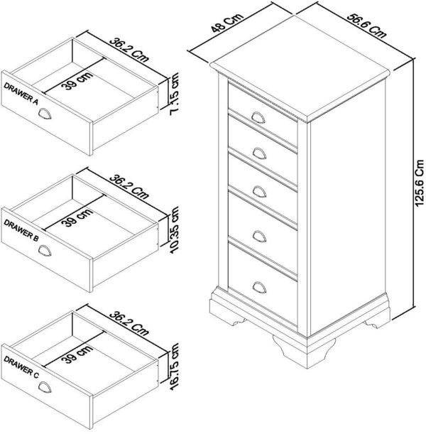 5 Drawer Tall Dimensions