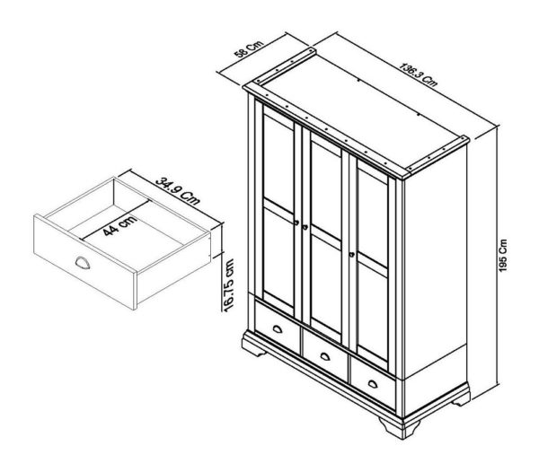 Genoa triple wardrobe dimensions