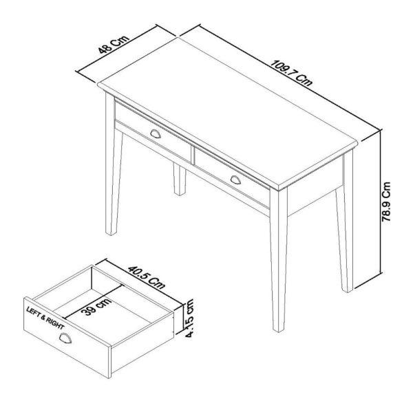 Genoa dressing table Dimensions